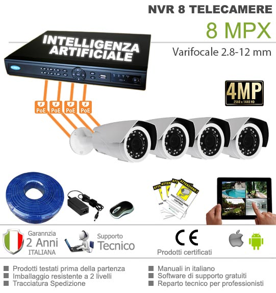 Kit videosorveglianza IP POE 4 Telecamere 4 MPX con intelligenza artificiale
