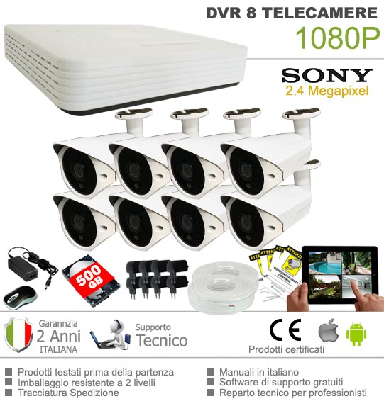 Kit videosorveglianza AHD 8 Telecamere Sony 2 Megapixel pronto all'uso controllabile da cellulare con Hard Disk incluso