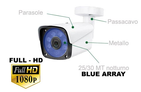 Telecamera AHD 1080P Full HD con Array system blue led alta luminosità 25-30 metri notturna